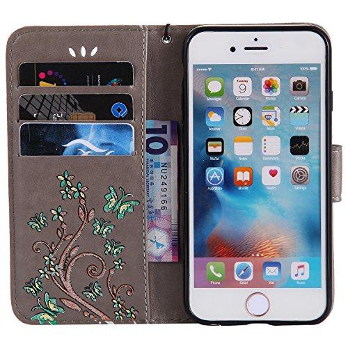 iPhone 6 Plus/6S Plus Case,MAGQI Premio Super Slim Fit Flip Pelle Sintetica Portafoglio Stile del Libro Custodia Borsa Con Slot Per Schede Funzione Dello Stand Chiusura Magnetica Sbalzato Rosa Fiore F Grigio