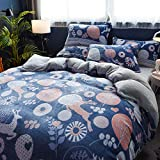 XHHWZB Bedrucktes Bettbezug-Set in doppelter Größe - Hellblaues Vintage Floral Birds Design - Ultraweiche hypoallergene Baumwoll-Bettbezug-Sets (Farbe : Style C)