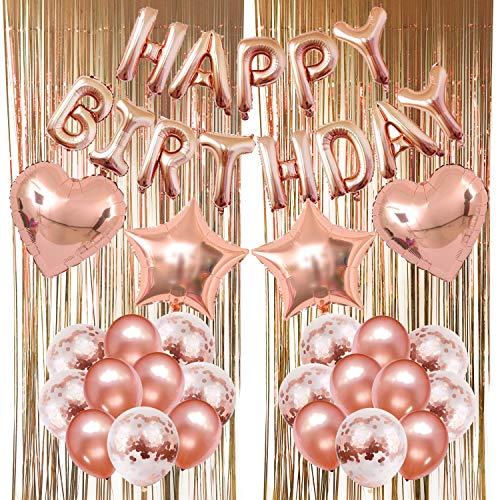 feier Dekoration, Happy Birthday Buchstaben Ballons Folienvorhänge Mylarfolie Stern und Herzform Ballons Konfetti Luftballons - Perfekte Geburtstags Party Deko Zubehör ()
