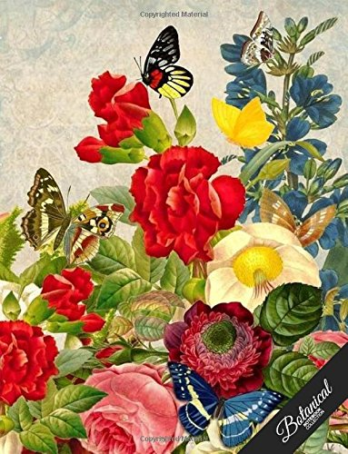 Botanical Notebook Collection: Vintage Butterfly Rose, Floral Journal/Diary, Wide Ruled, 100 Pages, 8.5 x 11