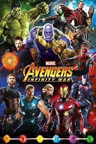 Up Close Poster Marvel Avengers Infinity War - Héros (61cm x 91,5cm) + 2 tringles Noires avec Suspension