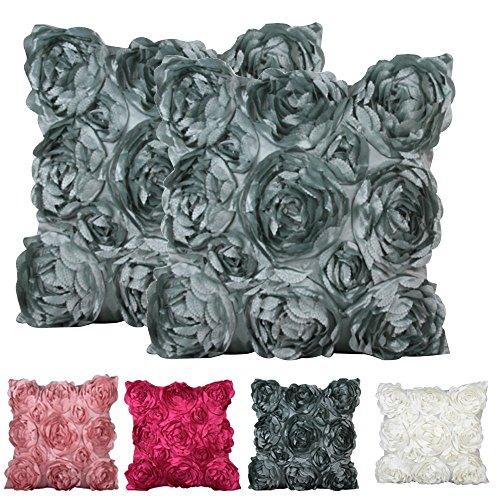 Plandv® Kissenhülle mit Blumendekoration, 2Stück, in verschiedenen Farben verfügbar, 40 x 40 cm Pattern 4 Light Green