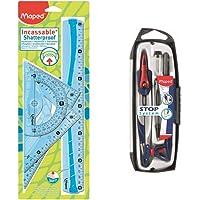 MAPED Kit de Traçage 4 Pièces avec Règle 30cm, Rapporteur 180°/12cm, Equerre 60°/21cm, Equerre 45°/21cm + Compas 5…