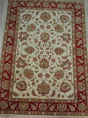 Tappeto Orientale Ziegler 230 X 170 Floreale fondo beige e bordo rosso Decorativo Annodato a Mano con Certificato di Autenticità (gali carpet)