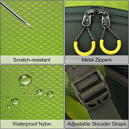 Zaino da Trekking 50 L (45 L+ 5 L), in Nylon Impermeabile Outdoor Zaino, Tracolla di Regolazione Traspirante Zaino da Escursione by Newpurslane Green