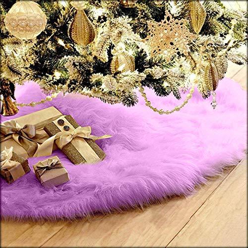 LCLrute 78cm 1 stück Kreative Weiß Plüsch Weihnachten Baum Röcke Pelz Teppich Weihnachten Dekoration Neue Jahr Zu Hause Im Freien Decor Event Party Baum röcke (Lila)