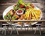 WH-PORP papier peint Frites rôti poulet légumes légumes nourriture 3d fond d'écran, salon de restauration rapide restaurant-128cmX100cm