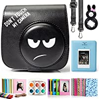 CAIUL 7 in 1 Fujifilm Instax Mini 8 8+ 9 Camera Accessories Bundles (Angry Emoji Mini 8 Case/ Mini Album/ Close-up Selfie Lens/ 6 Colors Close-up Lens/Wall Hang Frames/Film Frame/Film Stickers)