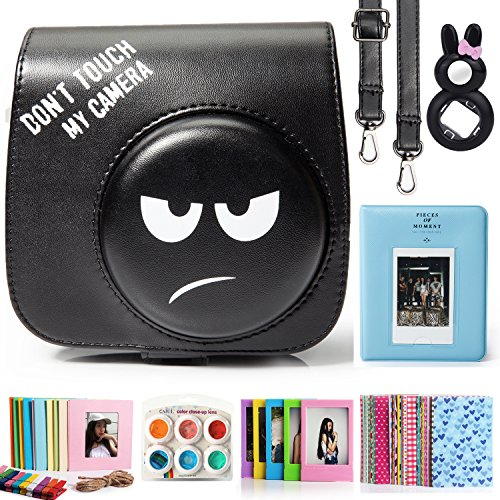 CAIUL 7 in 1 Instax Mini 8 8+ 9 Kamera Zubehör Bundles Set, Emoji Schwarz(Mini Tasche/Mini Album/Close-Up Selfie Objektiv/ 6 Farbige Filter Linse/Wand Hängen Bilder/Bunt Film Frames/Film Aufkleber)