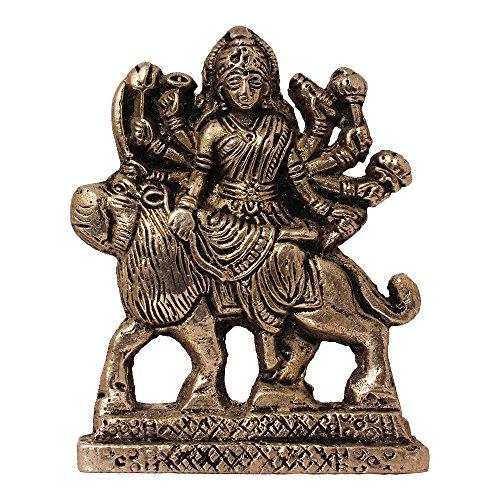 ART N HUB Brass Antique Look Hindu Goddess Durga Devi Handicraft Statue Sherawali Mata Rani / Maa Kali Decorative Spiritual Puja Vastu Showpiece Figurine - Religious Pooja Gift Item & Murti for Mandir / Temple / Home / office