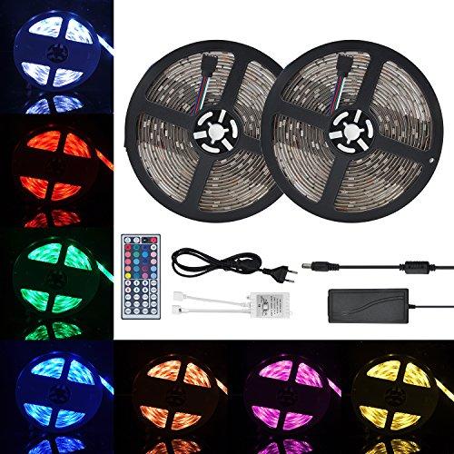 GEEDIAR Tira de Luz Impermeable IP65 LED Strip RGB 10M 5050 SMD Cinta LED 300 + 44 IR remoto + Adaptador de Corriente 12V 5A + Receptor + Descripción del Producto (RGB 10m)