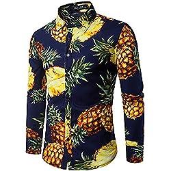 Camisas Para Hombres, Personalidad, Playa El Viento, Piña Impresiones, Hombres Pequeños, Fresco, Casual, Solapa, Camisas De Manga Larga,Azul Oscuro,L