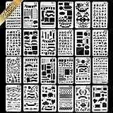 ManYee Bullet Journal Schablonen Set 24 PCS Malschablonen Zeichenschablonen Set Schablonen Kunststoff Buchstabenschablonen Schablonenmalerei Grafiken Schablonen für Scrapbooking, Karten, DIY Craft