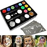 InnooBaby Pintura Cara 12 Colores, 2 Purpurinas, 3 Pinceles, 2 Esponjas, Maquillaje Ni?os...