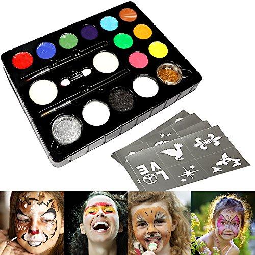 InnooBaby Pintura Cara 12 Colores, 2 Purpurinas, 3 Pinceles, 2 Esponja