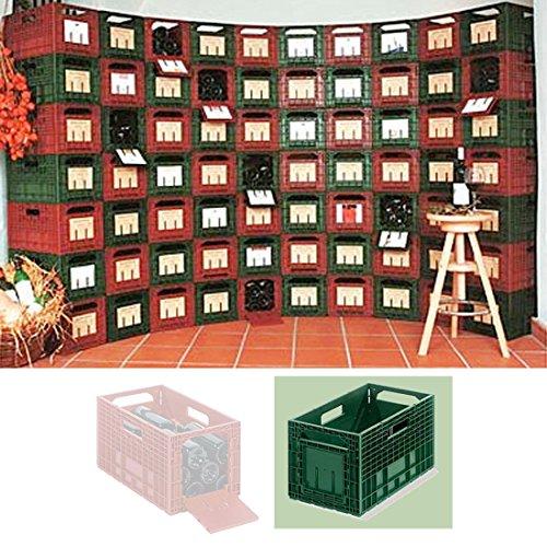 Weinregal/Flaschenregal, 6 Boxen für je 12 Flaschen = 72 Flaschen Kapazität, Kunststoff, Grün,...