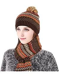 Vbiger Gorro invierno para Hombre y Mujer Sombrero con Bufanda 0319b43f3f69