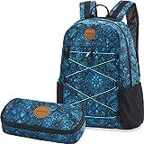 Dakine 2er Set Rucksack Schulrucksack Laptop Wonder 22l + School Case Mäppchen Blue Magnolia