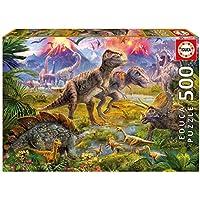 KD Toys 15969 Educa Borras Dinosaur Gathering 500 Piece Jigsaw Puzzle, Multi