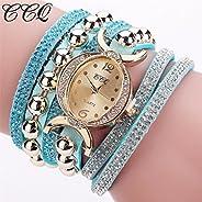 WensLTD Women Fashion Casual Analog Quartz Women Rhinestone Watch Bracelet Watch