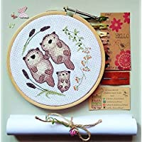 Otter family cross stitch kit, embroidery pattern, new baby gifts