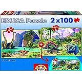 Puzzles Educa - Dino World, 2 puzzles x 100 piezas (15620)