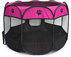 Octagonal Pet Tent Foldable Dog and Cat Fence, Puppy Exercise Playpen, Portable Cat and Dog House, Rabbit Cat Kennel, Rose-re