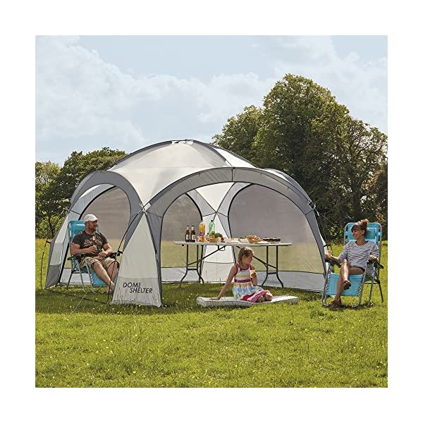 Garden Gear Outdoor Event Dome Shelter Party Tent UV Protection with 4 Removeable Mesh Walls, 2 Removeable Sun Shade Walls Measures L363.5 x W361 x H235.5cm (Silver) 2