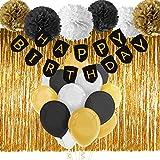 Paxcoo Schwarz und Gold Alles Gute zum Geburtstag Banner mit Tissue Pom Poms Fringe Vorhang und Ballons für Party Dekorationen