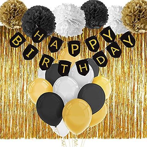 Paxcoo Black and Gold Bannière Joyeux Anniversaire avec Tissue Pom Poms Rideau Fringe et Ballons pour Décorations