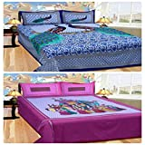 Bedsheets For Double Bed Cotton With Pillow Cover With 140TC Queen Size Cotton Printed Bedsheet with 2 Pillow Cover Rajasthan Style (Size- Bedsheet 90 x 100 inch., pillow 27 x 17 inch.) By Kiaan Homes( Combo of 2) Amazon Rs. 928.00