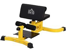 homcom Squat Machine Multifunzione 3 in 1 Regolabile Sit Up Push Up per Il Fitness, Fianchi e Gambe Acciaio, PVC, Eva 71 x 10