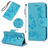 Huawei P8 Lite 2017/ Huawei Honor 8 Lite Case MAXFE.CO Butterfly & Flower Embossed Wallet Flip PU Leather Case Cover for P8 Lite 2017/ Honor 8 Lite & One Touch Pen (Blue)
