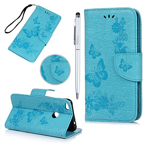 Huawei P8 Lite 2017/ Huawei Honor 8 Lite Case MAXFE.CO Butterfly & Flower Embossed Wallet Flip PU Leather Case Cover for P8 Lite 2017/ Honor 8 Lite & One Touch Pen (Blue) Test