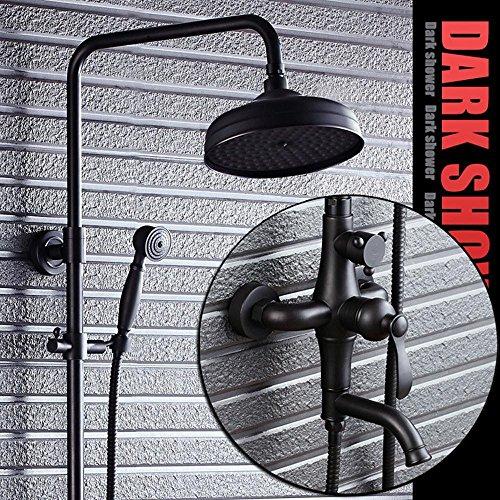 NIHE Schwarz Messing Wandhalterung Badewanne Wasserhahn Duscharmatur mit Handheld Duschkopf Rieb Öl Bronze Finish Retro Dusche Anzug