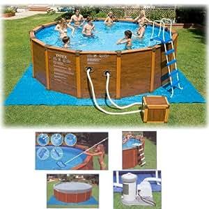 Deluxe schwimmbecken pool 508x124cm stahlrohrkonstruktion for Garten pool holzoptik