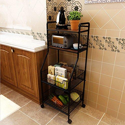 DULPLAY Regal Korb, Eisen Küche Regal Multifunktions-einfache Houseware Speicher Rack einen Mikrowelle Rack dickem Stahl, Eisenguss, B, 45x17x13inch(114x42x34cm) Pantry-speicher-körbe