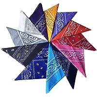 Wowfeu–Juego de 12 bandanas para el cabello, pañuelo diadema, multicolor, multifunción para cuello, cabeza, bufanda, pañuelos para hombre y mujer