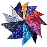 Wowfeu Lot de 12pcs Bandanas Cheveux Foulard Bandeau, Multicolor Multifonction Cou Tête Echarpe Mouchoirs Pour Homme et Femme