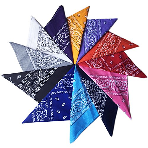 Wowfeu Lot de 12pcs Bandanas Cheveux Foulard Bandeau, Multicolor Multifonction Cou Tête Echarpe Mouchoirs Pour Homme et Femm