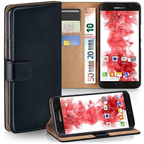moex Samsung Galaxy S7 | Hülle Schwarz mit Karten-Fach 360° Book Klapp-Hülle Handytasche Kunst-Leder Handyhülle für Samsung Galaxy S7 Case Flip Cover Schutzhülle Tasche