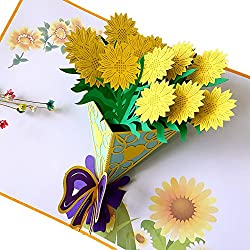 KIKIGOAL Feiertags-Karte Grußkarte 3D plastische faltbare Karte Für Feiertag Geburstag Papieren Gardenie Sonnenblume