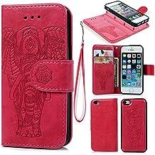 Coque iPhone 5 5S SE Etui Flip Cover Clapet 2 en 1 Coque Protecteur en Cuir 9db85384b21