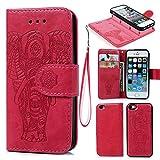 Coque iPhone 5 5S SE Etui Flip Cover Clapet 2 en 1 Coque Protecteur en Cuir PU avec TPU Silicone Housse avec Portable Dragonne Stand Support et Carte de Crédit Slot -- Rouge