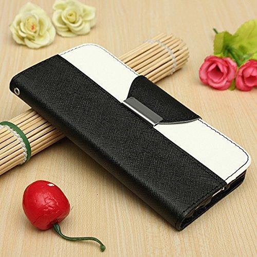 Croix Motif flip en cuir Wallet Card Support de couverture de cas pour l'iPhone 6 noir