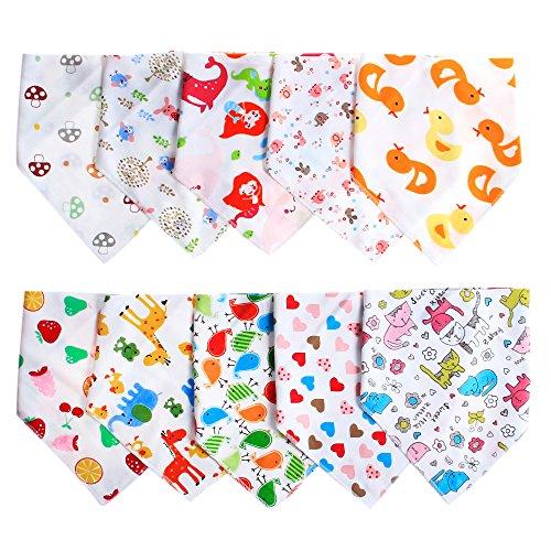 Labebe Baby Dreieckstuch Lätzchen Spucktuch mit unterschiedlichen Muster 10er Pack (A) Mädchen