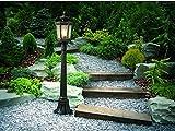 Klassische Außenstehleuchte in antikbronze/Aluminium Glas E27 max. 60 Watt, Terrassenleuchte Stehleuchte Wegleuchte Weglampe Gartenlampe