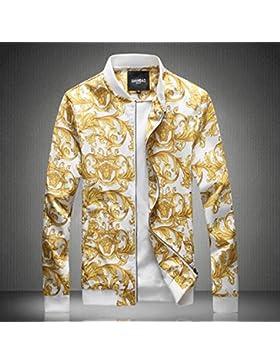 Tide Mens jacket delgada chaqueta impresa marea Casual Chaqueta abrigo Jersey Boys Baseball, Blanco, XL