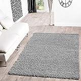 T&T Design Shaggy Teppich Hochflor Langflor Teppiche Wohnzimmer Preishammer Versch. Farben, Größe:140x200 cm, Farbe:grau