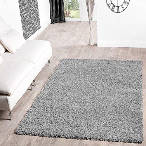 T&T Design Alfombra Shaggy De Pelo Largo para Salón A Precio Inmejorable, Größe:60x100 cm, Farbe:Grey